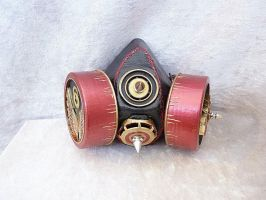 Winged red gas mask by Serata
