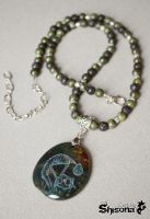 Pendant with handpainted Extraterrestrial by Shisona
