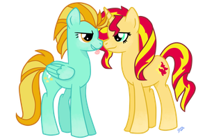 Request : Lightning Dust and Sunset Shimmer by MustachioeDraws