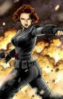 Black Widow in Color by artistjerrybennett