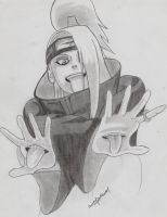 Deidara pencil drawing by EKUSASxISxGOD