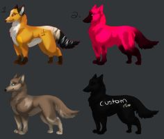 Wolf/Fox Adopts Open ( 2 LEFT !!! ) by nightstrikers