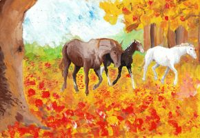 A family in autumn leaves by Horse-Freedom