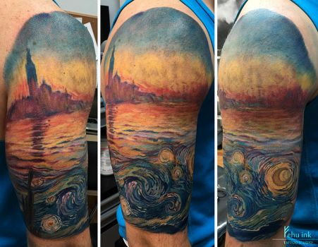 Van Gogh meets Monet tattoo by ellegottzi