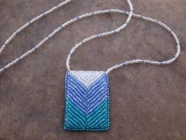 Blue bead embroidered chevron necklace by PeachPodHandmade