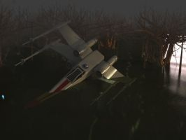 X-Wing fall in Dagobah by tudisco