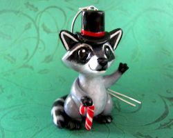 Raccoon Ornament by DragonsAndBeasties