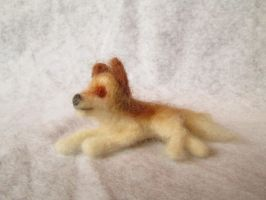 Santrot the Needle Felt Tiny Wolf Doll by shadechristiwolven