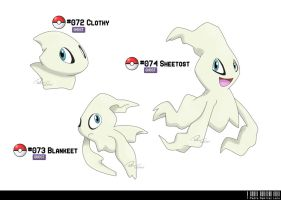 072, 073, 074 - Cloth/Blanket/Sheet Fakemon by LeafyHeart