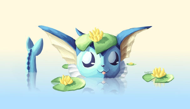 Lily Pad Vaporeon by TheSagnip