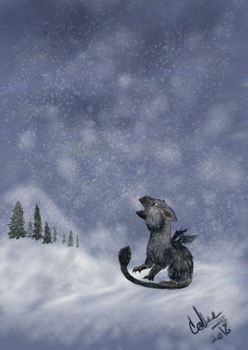 Trico in a snow storm by twilightwhitewolf