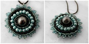 Bead Embroidery - Turqouise-Graphite Pendant by juditithil