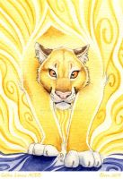 ACEO Golden lioness by theOlven