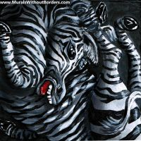 Squished Zebra by MuralsWithoutBorders