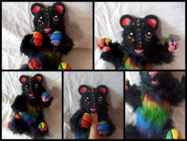 Handmade Poseable Rainbow Bear by KaypeaCreations