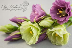 hairpin with Eustoma by polyflowers