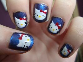 Hello Kitty nails by luminousleopard