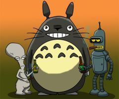 Totoro Bender and Roger by richardnixon1968