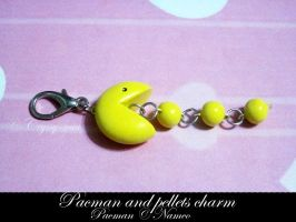 Pacman and Pellets Charm - SOLD by Cryssy-miu