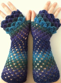 Galaxy Long Custom Dragon Gloves by FearlessFibreArts