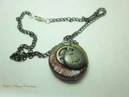 Steampunk L Pendant by hattiepolyproduction