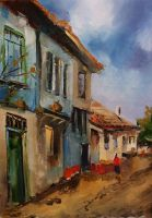 village oil painting by DemetTavsan