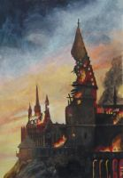 Burning Hogwarts by goldenConnpass