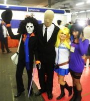 Brook, Slenderman, Lucy and Nico Robin by Moskita