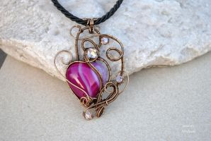 Fuchsia Agate heart wire wrapped pendant by IanirasArtifacts