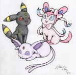 A day out with Espeon, Umbreon and Sylveon by AnUnimaginaryKid