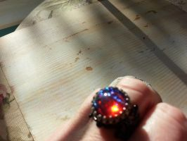 Dragon's Breath Ring on Blackened filigree by artistiquejewelry