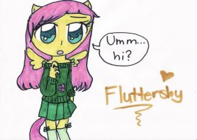 Fluttershy Semi-human by timelordponygirl