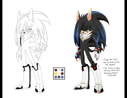 Arem the Semi-demon Hedgehog Ref by kiuki-10