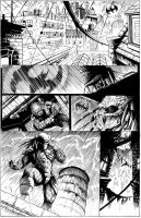 batman vs predator page 1 inks by Wes-StClaire