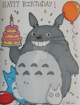 Comm: Totoro Birthday card 1 by LadyNin-Chan