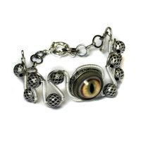 Steampunk Bracelet Taxidermy Glass eye by CatherinetteRings