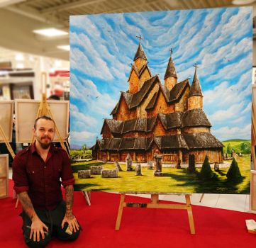Heddal Stave church painting by AtomiccircuS