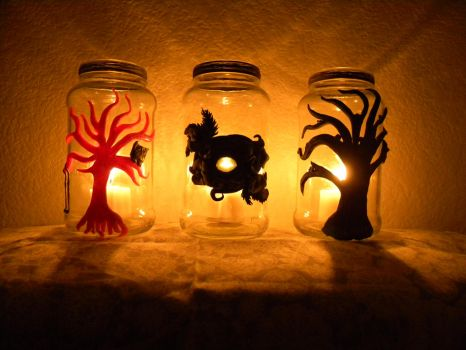 Tealight candle jars with custom designs in clay by 22moths