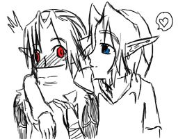 blue and red eyes meet by girloveslink