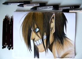 Drawing Eren Titan by pitchblack1994