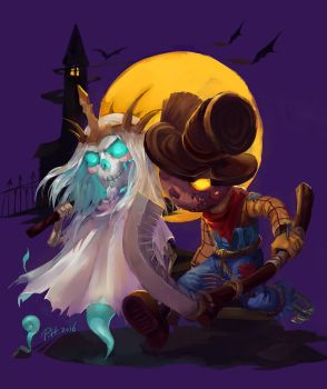 Scarecrow Xul and Ghost Leoric by phoebecn