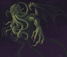 Cthulhu in space by flowerewolf