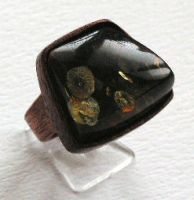 Ring 5 - Amber and Wood by AmberSculpture