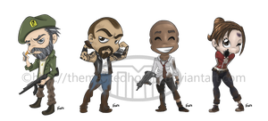 Left 4 Dead Chibi set by TheMaskedHomie