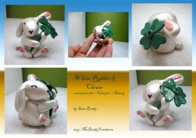 White Rabbit and Clover figure - polymer clay by Brisbykins