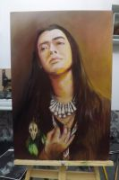 Brazilian indian - self portrait - oil by rodrigo-mestisso