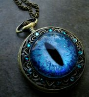 Deluxe Sovereign Pocket Watch  Sky Blue Dragon Eye by LadyPirotessa
