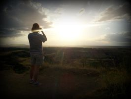 sunset over the badlands by pirana666