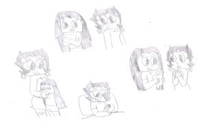 Betty Boop and Bertha Boop Sketches by MarcosLucky96