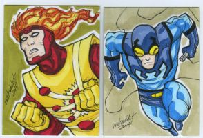 Firestorm and Blue Beetle sketch card commission by mdavidct